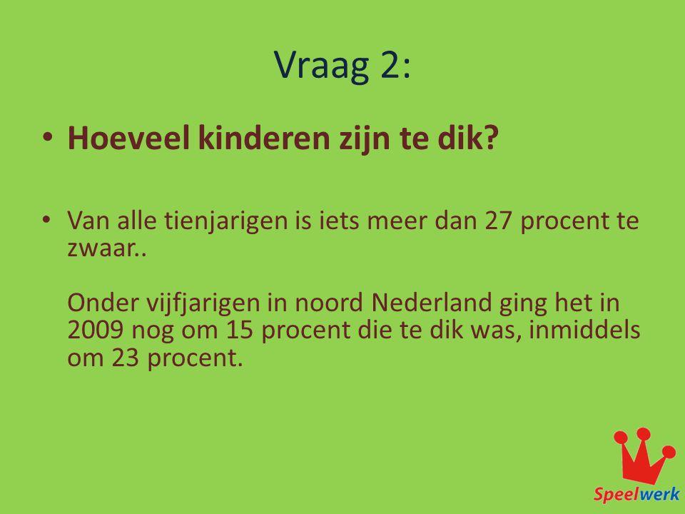 Vraag 2: • Hoeveel kinderen zijn te dik? • Van alle tienjarigen is iets meer dan 27 procent te zwaar.. Onder vijfjarigen in noord Nederland ging het i