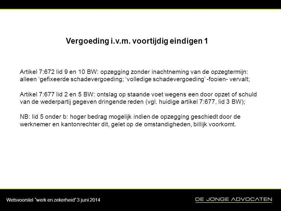 Wetsvoorstel werk en zekerheid 3 juni 2014 Vergoeding i.v.m.