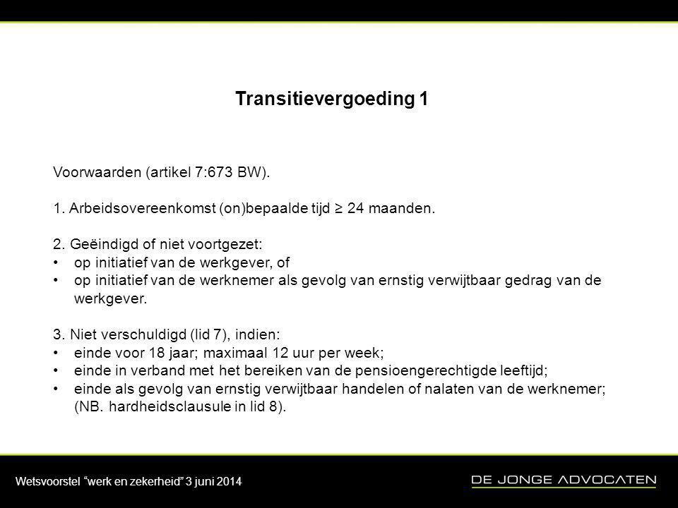 Wetsvoorstel werk en zekerheid 3 juni 2014 Transitievergoeding 2 4.