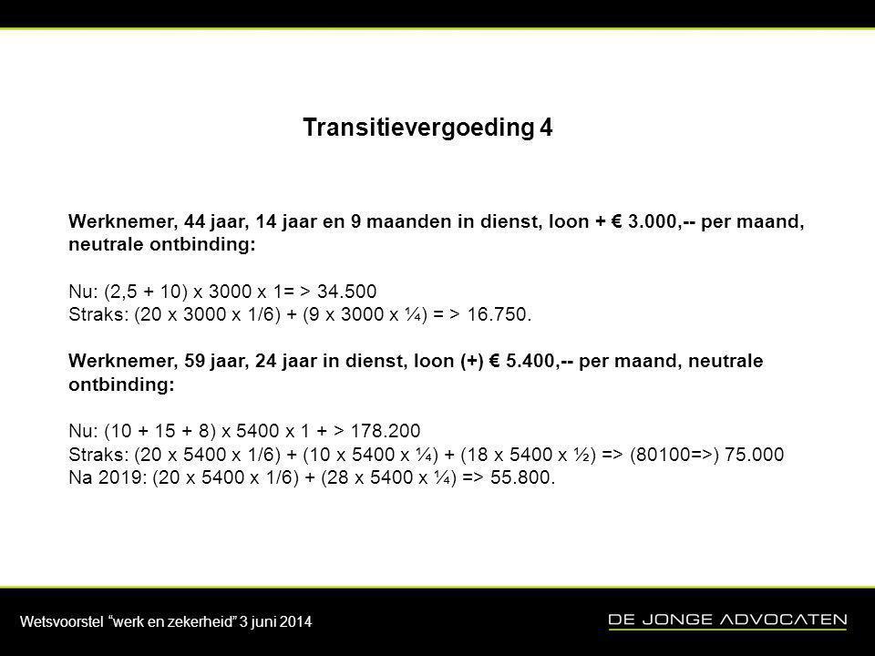 """Wetsvoorstel """"werk en zekerheid"""" 3 juni 2014 Transitievergoeding 4 Werknemer, 44 jaar, 14 jaar en 9 maanden in dienst, loon + € 3.000,-- per maand, ne"""