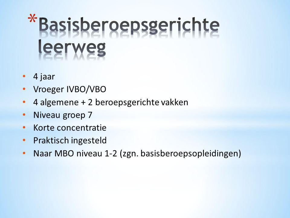 • 4 jaar • Vroeger IVBO/VBO • 4 algemene + 2 beroepsgerichte vakken • Niveau groep 7 • Korte concentratie • Praktisch ingesteld • Naar MBO niveau 1-2
