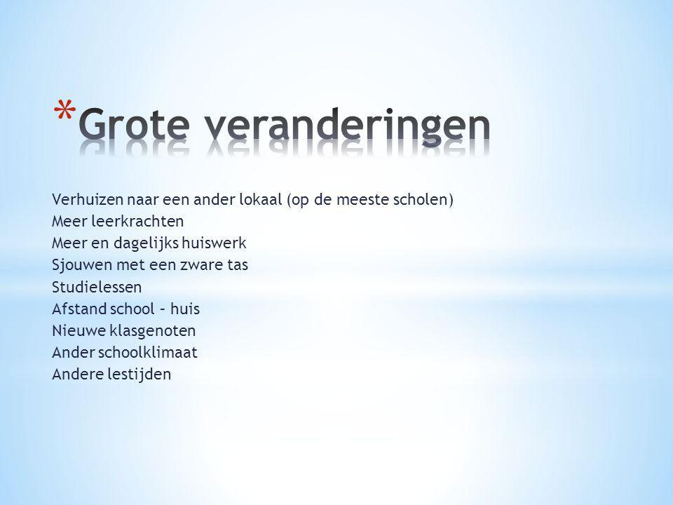 Verhuizen naar een ander lokaal (op de meeste scholen) Meer leerkrachten Meer en dagelijks huiswerk Sjouwen met een zware tas Studielessen Afstand sch