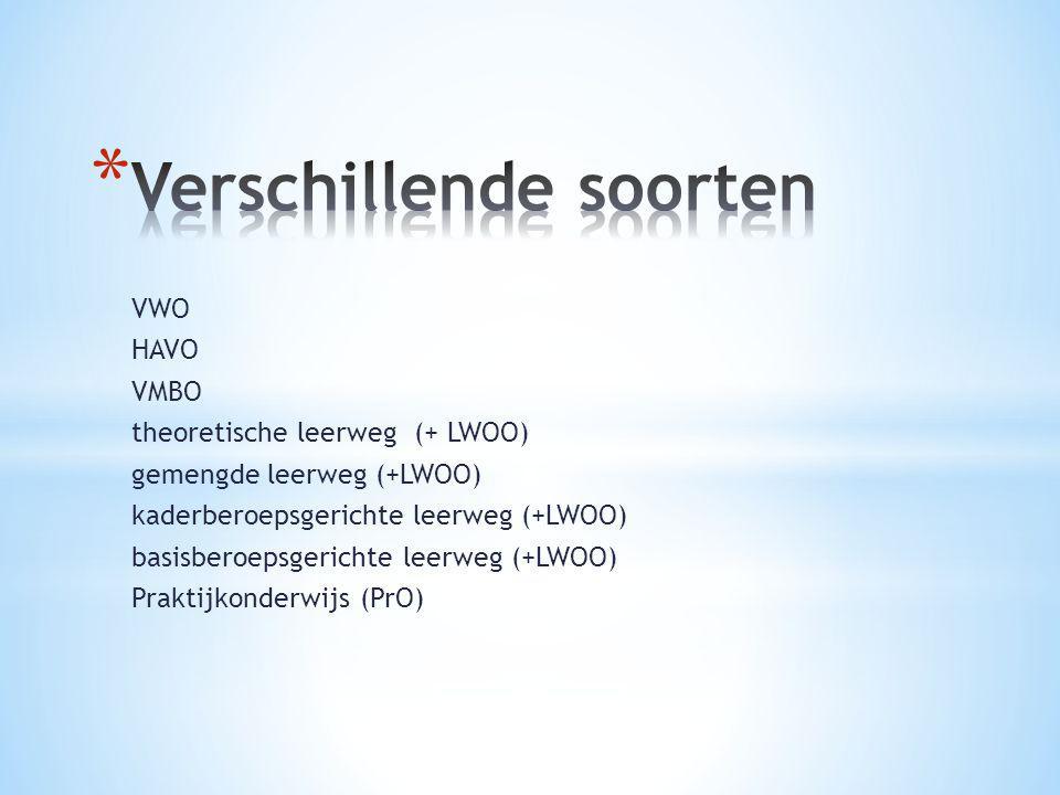 VWO HAVO VMBO theoretische leerweg (+ LWOO) gemengde leerweg (+LWOO) kaderberoepsgerichte leerweg (+LWOO) basisberoepsgerichte leerweg (+LWOO) Praktij