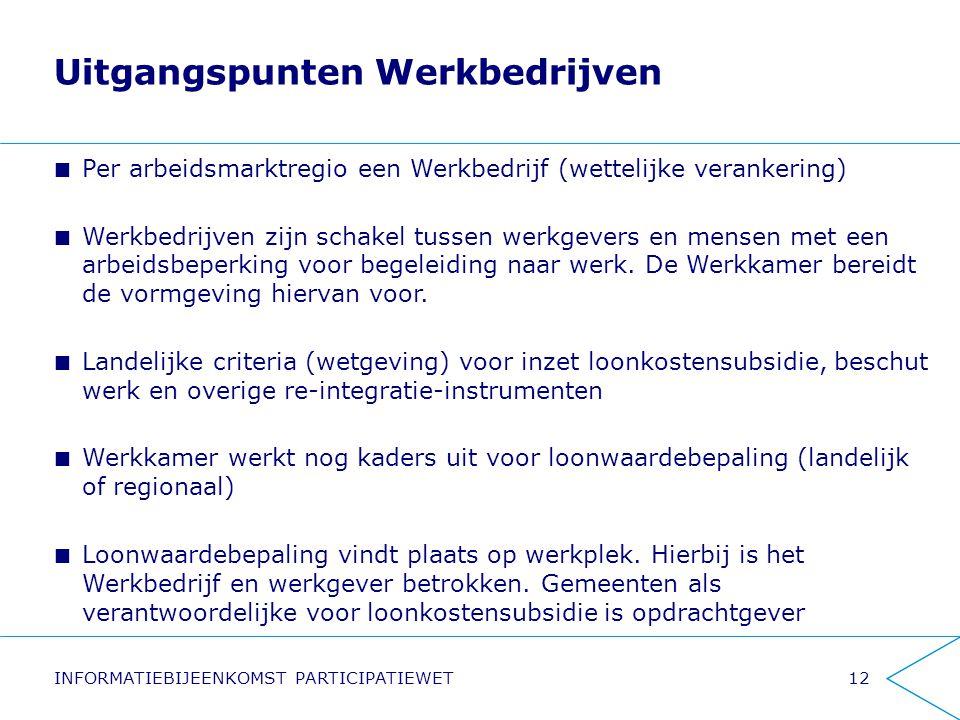 Uitgangspunten Werkbedrijven Per arbeidsmarktregio een Werkbedrijf (wettelijke verankering) Werkbedrijven zijn schakel tussen werkgevers en mensen met