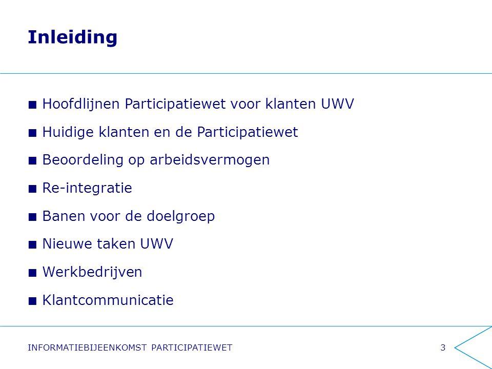 Inleiding Hoofdlijnen Participatiewet voor klanten UWV Huidige klanten en de Participatiewet Beoordeling op arbeidsvermogen Re-integratie Banen voor d