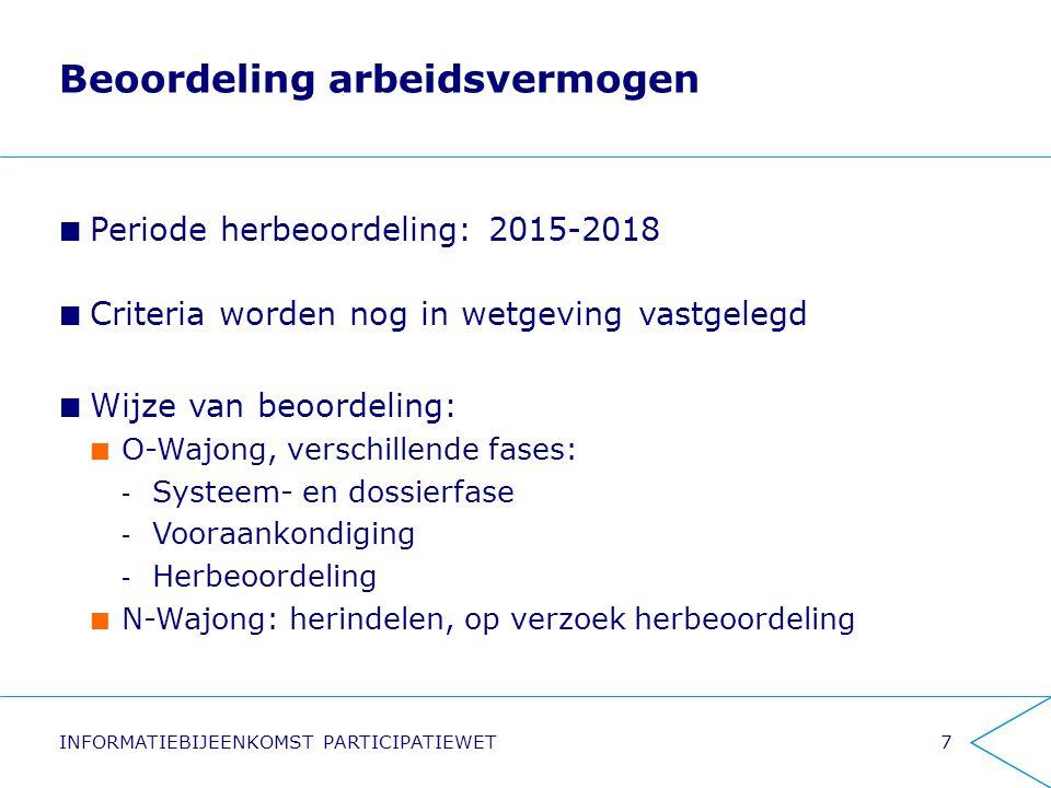 Beoordeling arbeidsvermogen Periode herbeoordeling: 2015-2018 Criteria worden nog in wetgeving vastgelegd Wijze van beoordeling: O-Wajong, verschillen