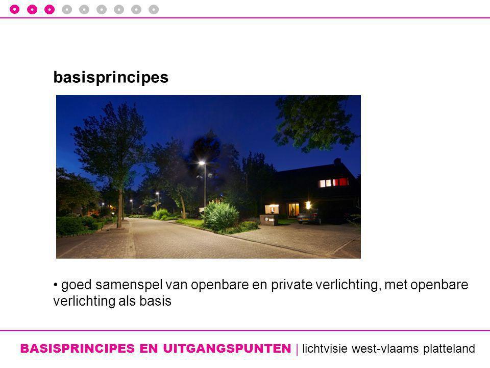 BASISPRINCIPES EN UITGANGSPUNTEN | lichtvisie west-vlaams platteland basisprincipes • goed samenspel van openbare en private verlichting, met openbare verlichting als basis