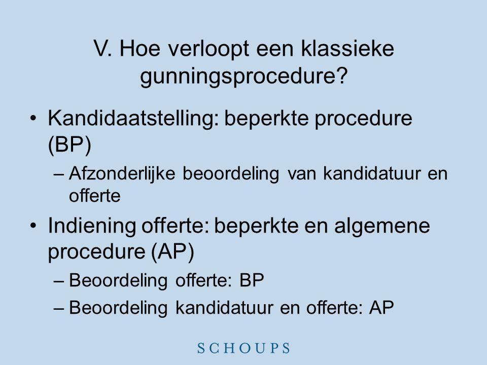 V. Hoe verloopt een klassieke gunningsprocedure? •Kandidaatstelling: beperkte procedure (BP) –Afzonderlijke beoordeling van kandidatuur en offerte •In
