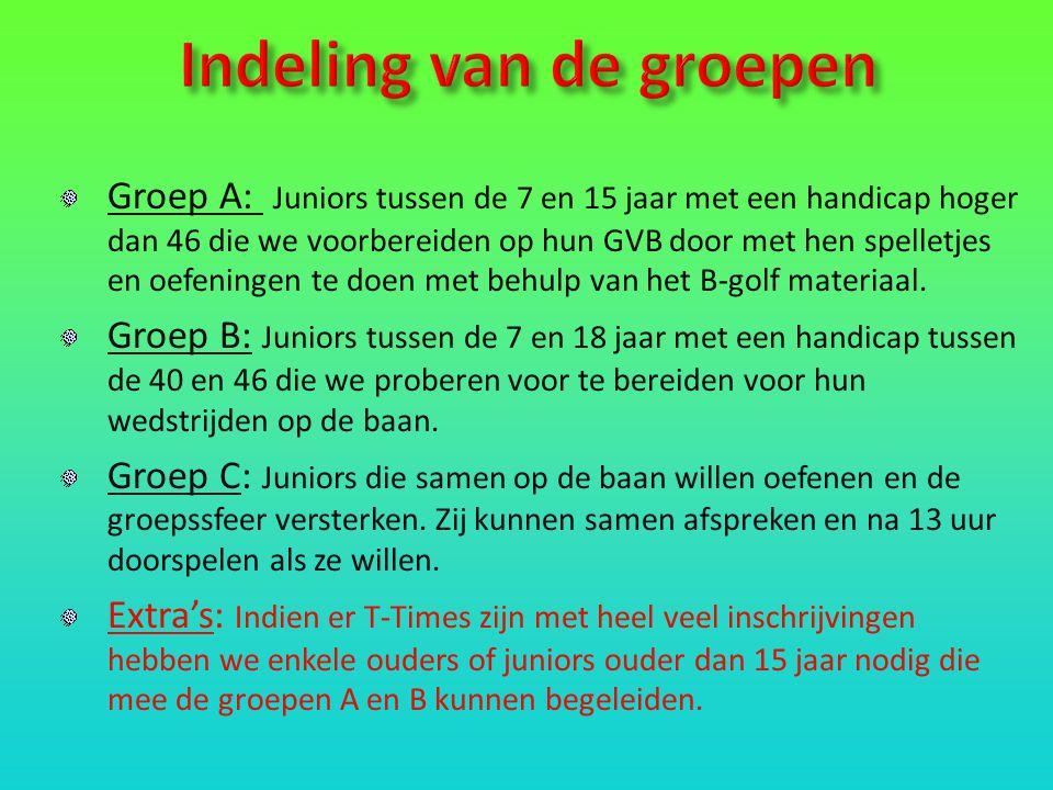 Groep A: Juniors tussen de 7 en 15 jaar met een handicap hoger dan 46 die we voorbereiden op hun GVB door met hen spelletjes en oefeningen te doen met behulp van het B-golf materiaal.