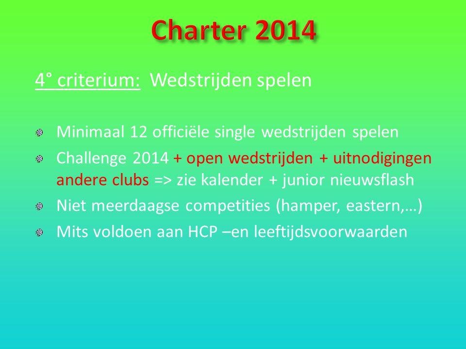 4° criterium: Wedstrijden spelen Minimaal 12 officiële single wedstrijden spelen Challenge 2014 + open wedstrijden + uitnodigingen andere clubs => zie