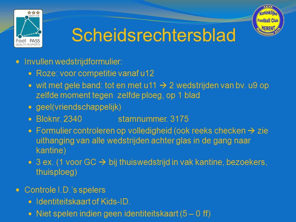 Scheidsrechtersblad  Invullen wedstrijdformulier:  Roze: voor competitie vanaf u12  wit met gele band: tot en met u11  2 wedstrijden van bv. u9 op
