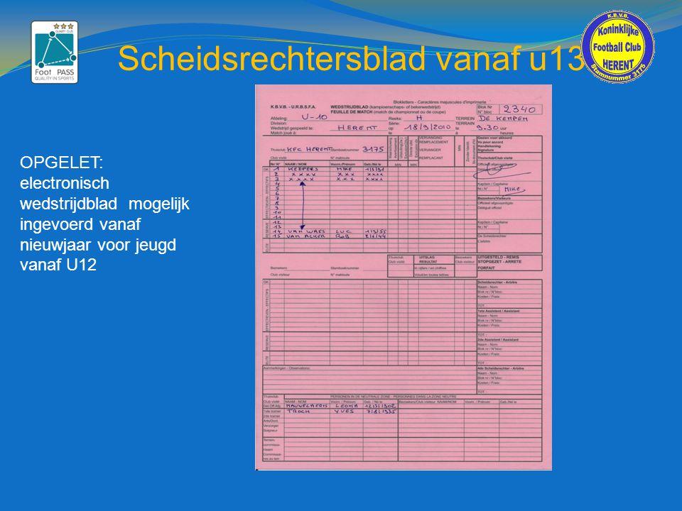 Scheidsrechtersblad vanaf u13 OPGELET: electronisch wedstrijdblad mogelijk ingevoerd vanaf nieuwjaar voor jeugd vanaf U12