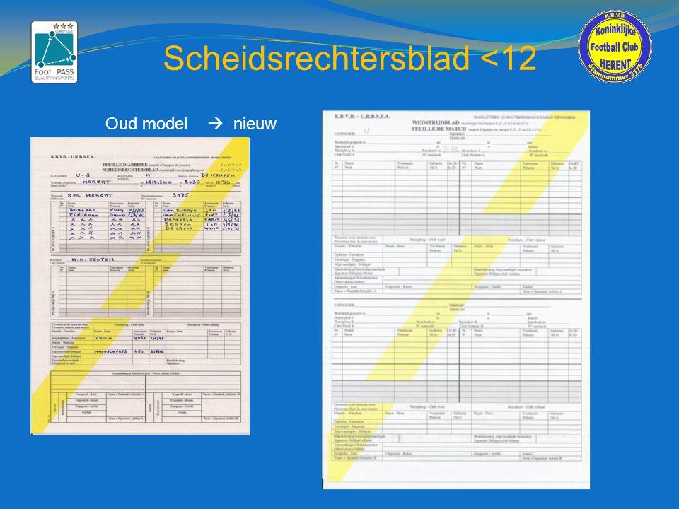 Scheidsrechtersblad <12 Oud model  nieuw