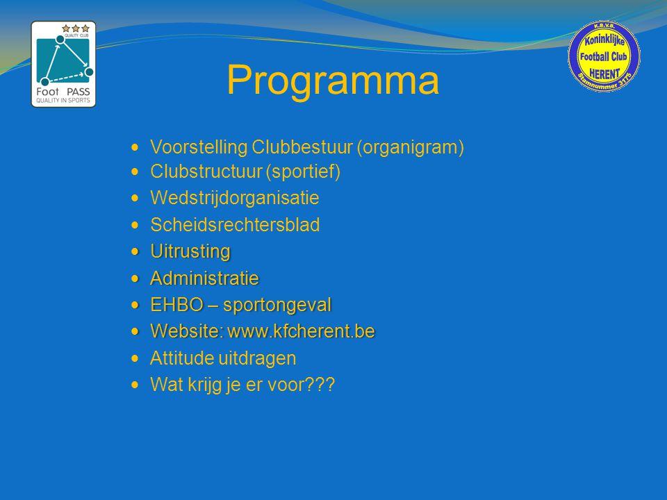 Programma  Voorstelling Clubbestuur (organigram)  Clubstructuur (sportief)  Wedstrijdorganisatie  Scheidsrechtersblad  Uitrusting  Administratie