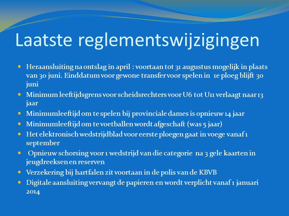Laatste reglementswijzigingen  Heraansluiting na ontslag in april : voortaan tot 31 augustus mogelijk in plaats van 30 juni. Einddatum voor gewone tr