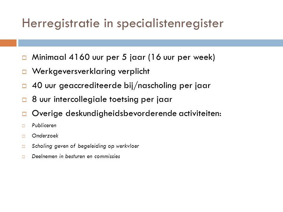 Herregistratie in specialistenregister  Minimaal 4160 uur per 5 jaar (16 uur per week)  Werkgeversverklaring verplicht  40 uur geaccrediteerde bij/