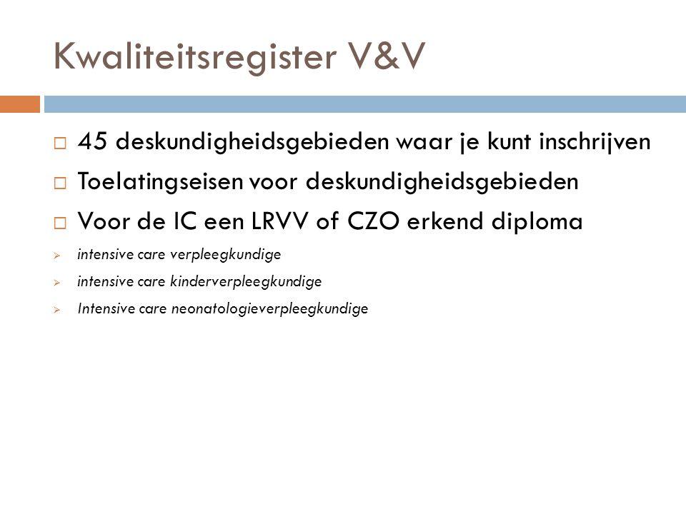 Kwaliteitsregister V&V  45 deskundigheidsgebieden waar je kunt inschrijven  Toelatingseisen voor deskundigheidsgebieden  Voor de IC een LRVV of CZO