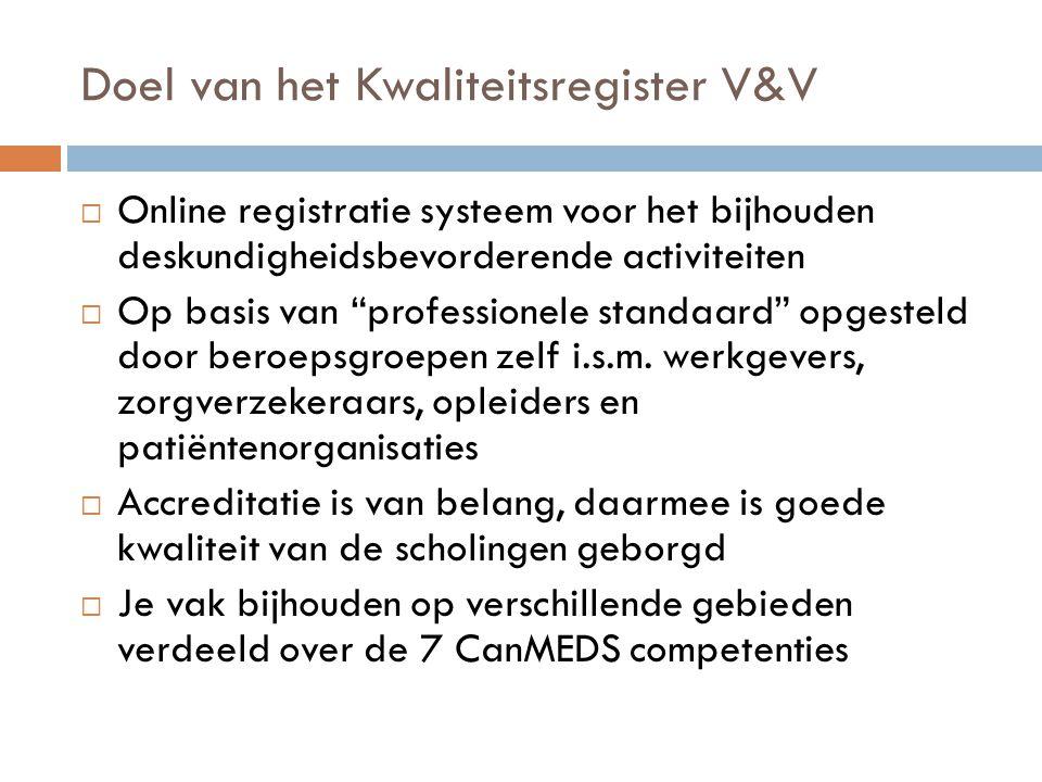 """Doel van het Kwaliteitsregister V&V  Online registratie systeem voor het bijhouden deskundigheidsbevorderende activiteiten  Op basis van """"profession"""