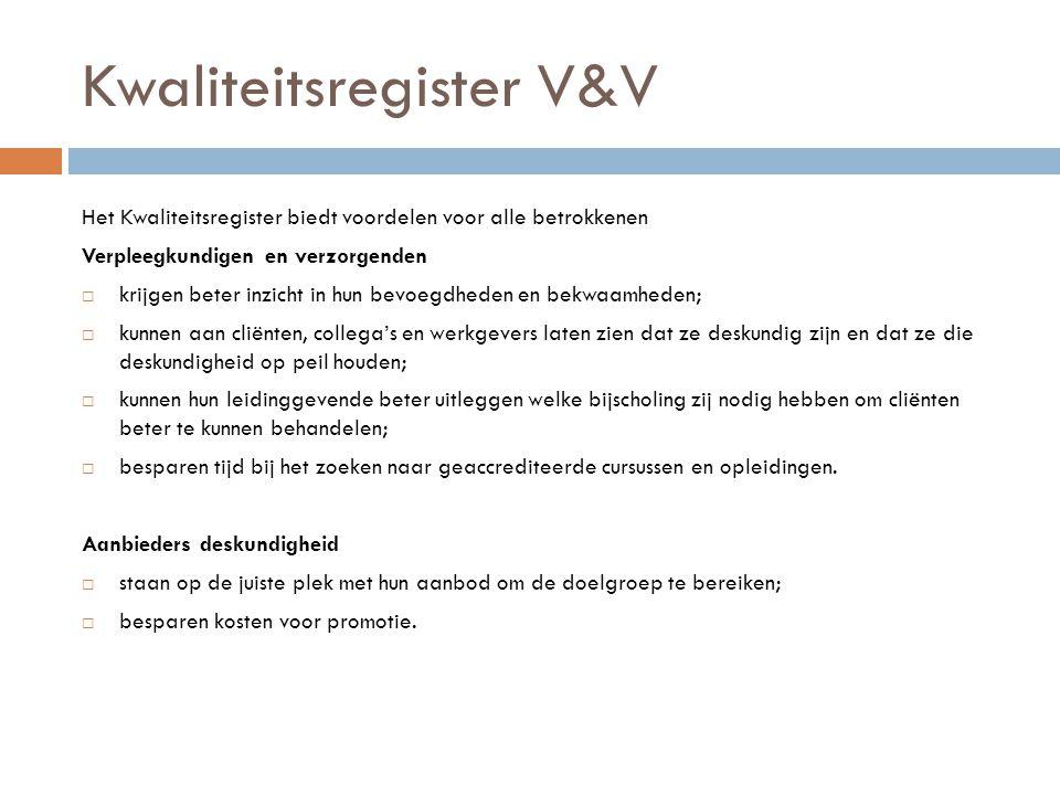 Kwaliteitsregister V&V Het Kwaliteitsregister biedt voordelen voor alle betrokkenen Verpleegkundigen en verzorgenden  krijgen beter inzicht in hun be