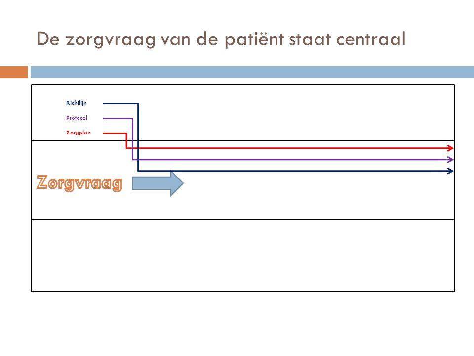De zorgvraag van de patiënt staat centraal Zorgplan Protocol Richtlijn