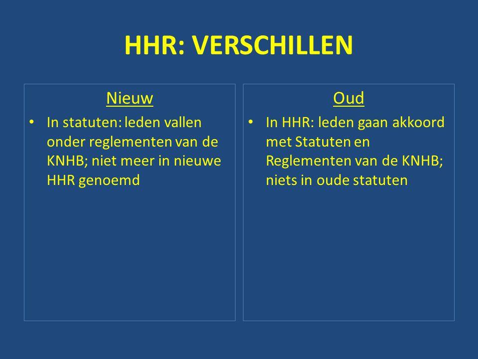 HHR: VERSCHILLEN Nieuw • In statuten: leden vallen onder reglementen van de KNHB; niet meer in nieuwe HHR genoemd Oud • In HHR: leden gaan akkoord met Statuten en Reglementen van de KNHB; niets in oude statuten