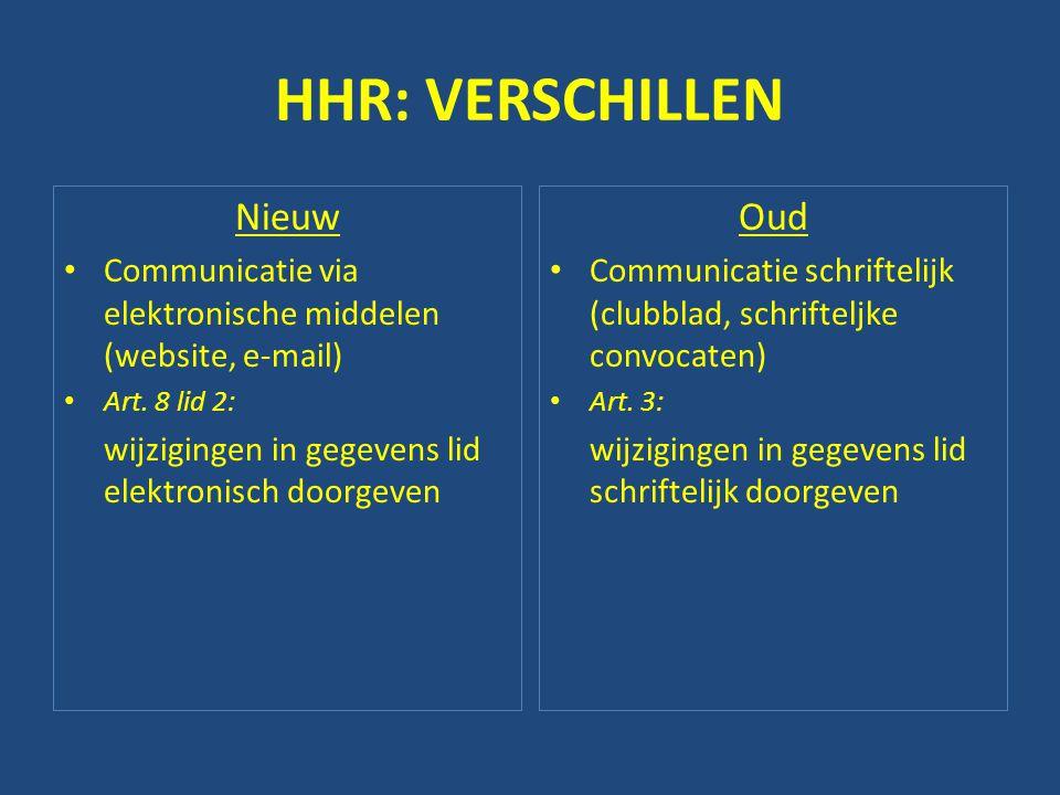 HHR: VERSCHILLEN Nieuw • Communicatie via elektronische middelen (website, e-mail) • Art. 8 lid 2: wijzigingen in gegevens lid elektronisch doorgeven