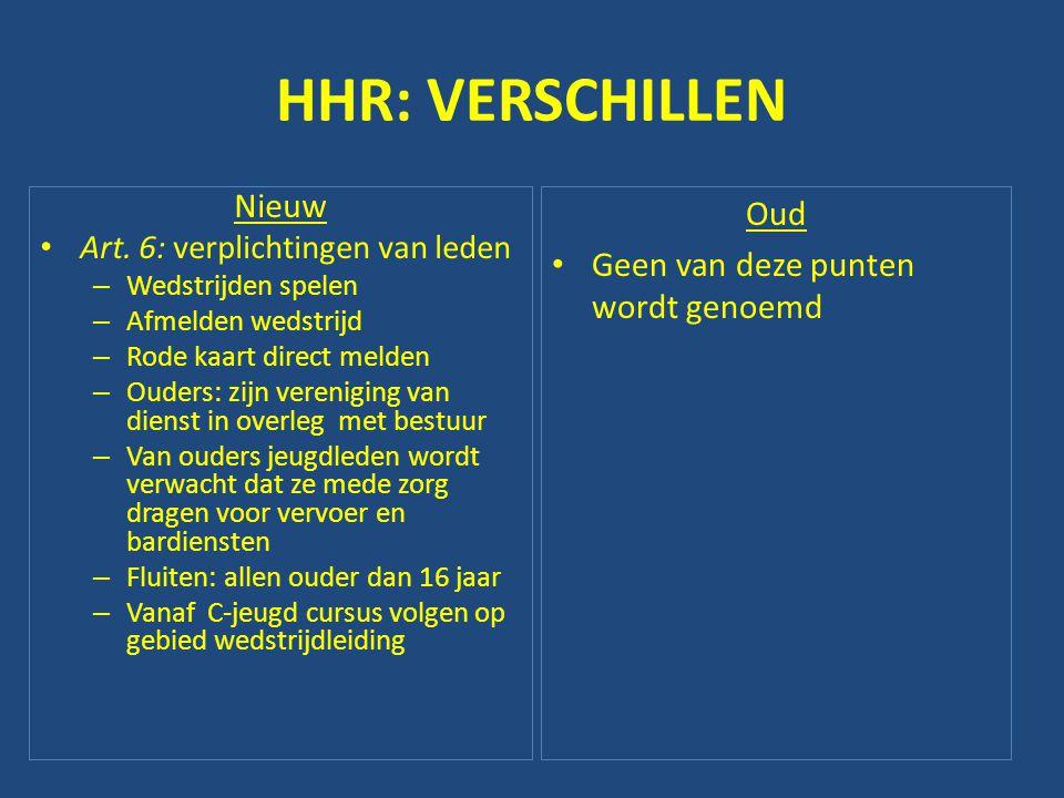 HHR: VERSCHILLEN Nieuw • Art. 6: verplichtingen van leden – Wedstrijden spelen – Afmelden wedstrijd – Rode kaart direct melden – Ouders: zijn verenigi