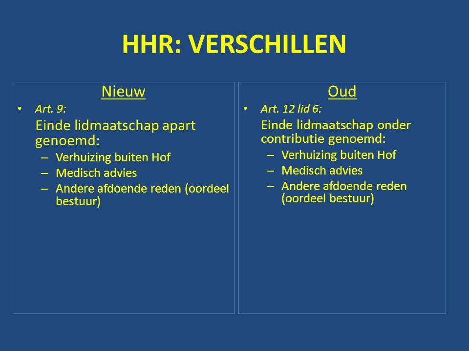HHR: VERSCHILLEN Nieuw • Art. 9: Einde lidmaatschap apart genoemd: – Verhuizing buiten Hof – Medisch advies – Andere afdoende reden (oordeel bestuur)