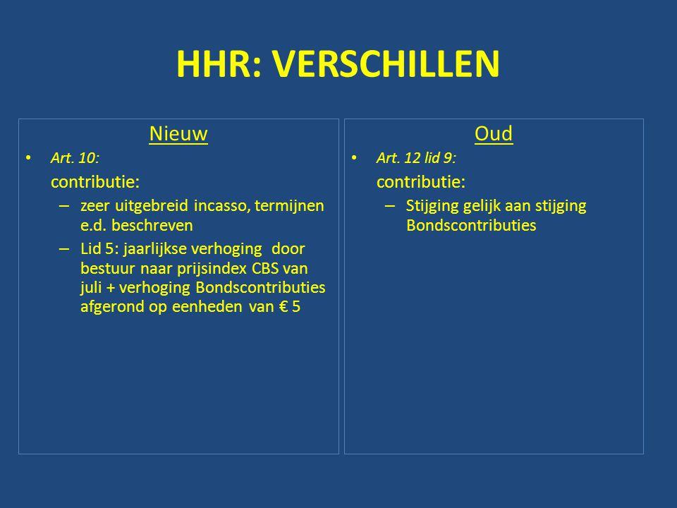 HHR: VERSCHILLEN Nieuw • Art. 10: contributie: – zeer uitgebreid incasso, termijnen e.d. beschreven – Lid 5: jaarlijkse verhoging door bestuur naar pr