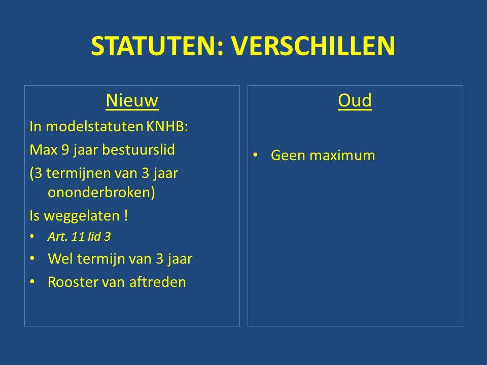 STATUTEN: VERSCHILLEN Nieuw In modelstatuten KNHB: Max 9 jaar bestuurslid (3 termijnen van 3 jaar ononderbroken) Is weggelaten ! • Art. 11 lid 3 • Wel