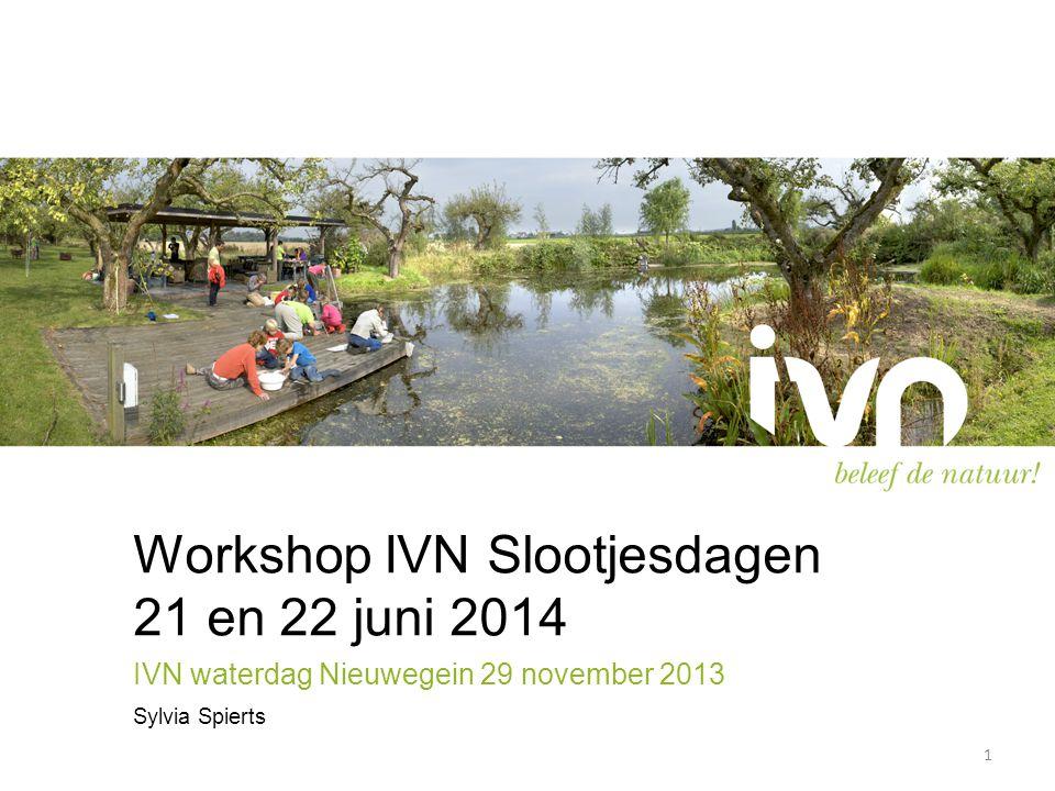 Workshop IVN Slootjesdagen 21 en 22 juni 2014 IVN waterdag Nieuwegein 29 november 2013 Sylvia Spierts 1