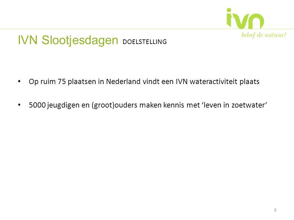 • Op ruim 75 plaatsen in Nederland vindt een IVN wateractiviteit plaats • 5000 jeugdigen en (groot)ouders maken kennis met 'leven in zoetwater' 6 IVN