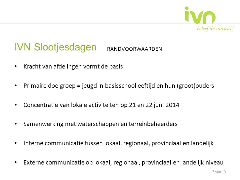 • Landelijke werkgroep zorgt voor landelijke publiciteit • Landelijke werkgroep ontwikkelt herkenningskaart zoetwaterdiertjes (gedrukt A4 formaat) en levert inspirerende ideeën (www.ivn.nl /onsivn)www.ivn.nl • Samenwerking met waterschappen vindt plaats middels regionaal c.q.