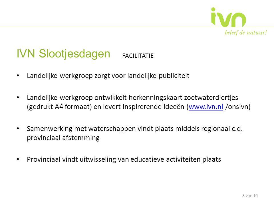 • Landelijke werkgroep zorgt voor landelijke publiciteit • Landelijke werkgroep ontwikkelt herkenningskaart zoetwaterdiertjes (gedrukt A4 formaat) en