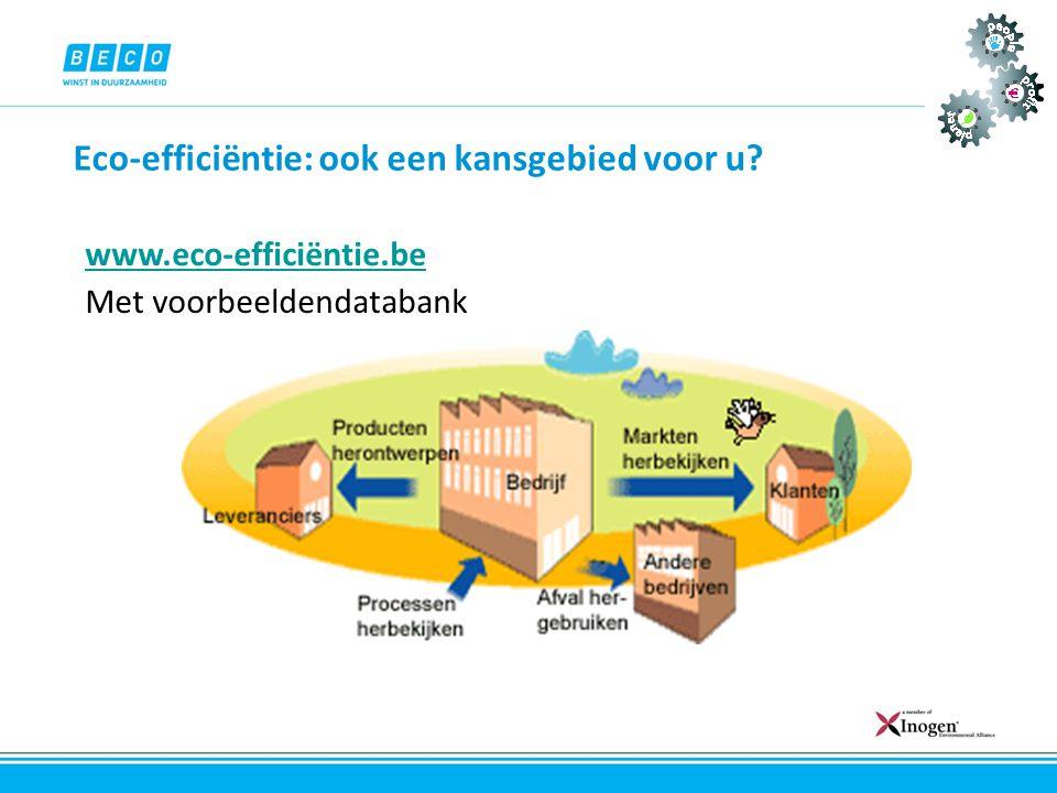 Eco-efficiëntie: ook een kansgebied voor u? www.eco-efficiëntie.be Met voorbeeldendatabank