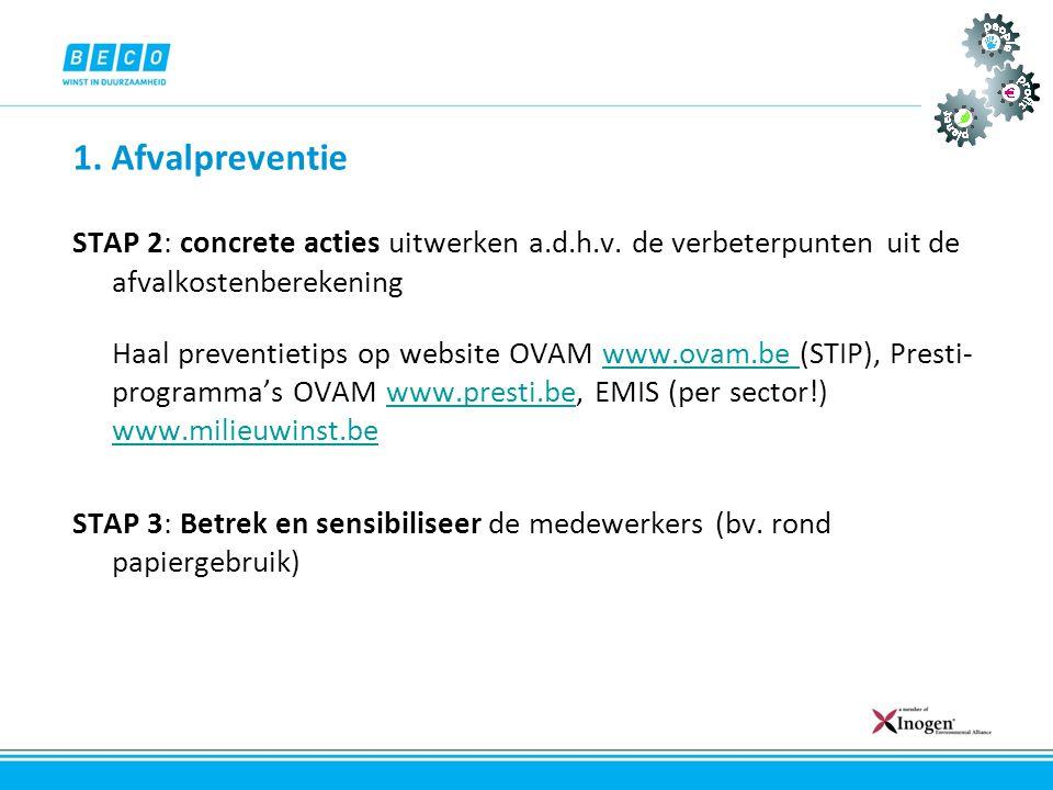 1. Afvalpreventie STAP 2: concrete acties uitwerken a.d.h.v. de verbeterpunten uit de afvalkostenberekening Haal preventietips op website OVAM www.ova