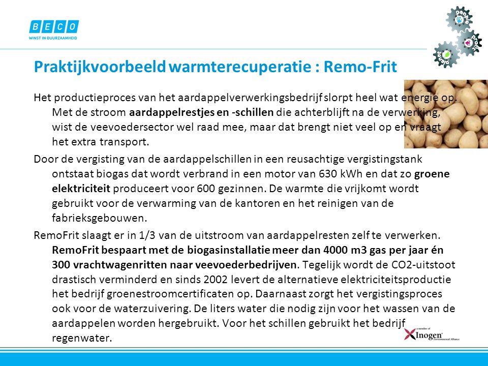 Praktijkvoorbeeld warmterecuperatie : Remo-Frit Het productieproces van het aardappelverwerkingsbedrijf slorpt heel wat energie op. Met de stroom aard