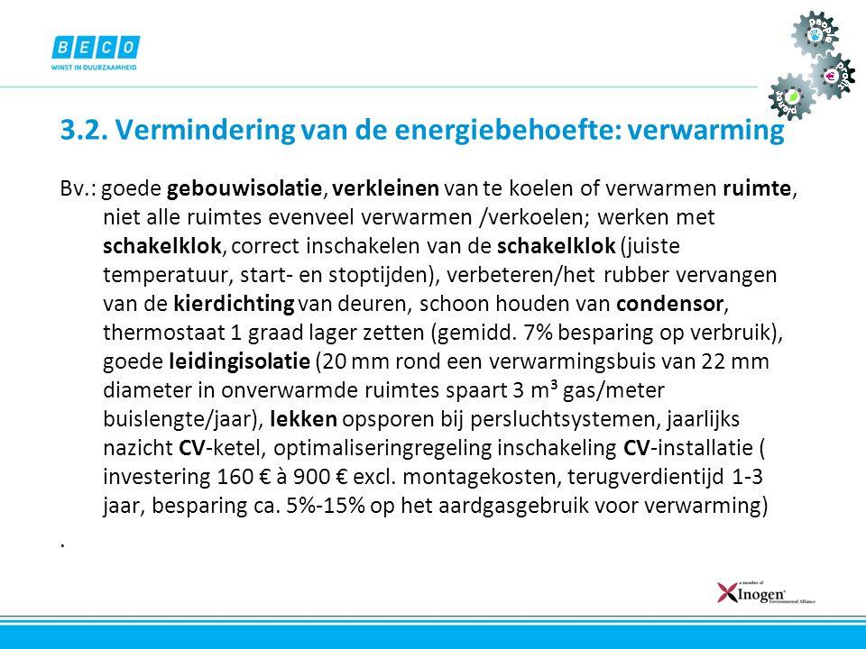 3.2. Vermindering van de energiebehoefte: verwarming Bv.: goede gebouwisolatie, verkleinen van te koelen of verwarmen ruimte, niet alle ruimtes evenve