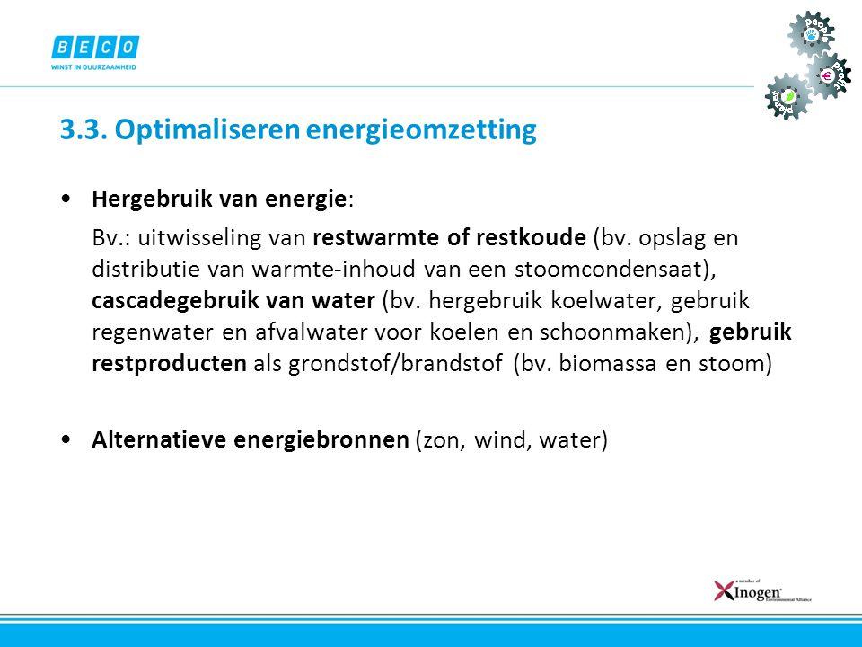 3.3. Optimaliseren energieomzetting •Hergebruik van energie: Bv.: uitwisseling van restwarmte of restkoude (bv. opslag en distributie van warmte-inhou