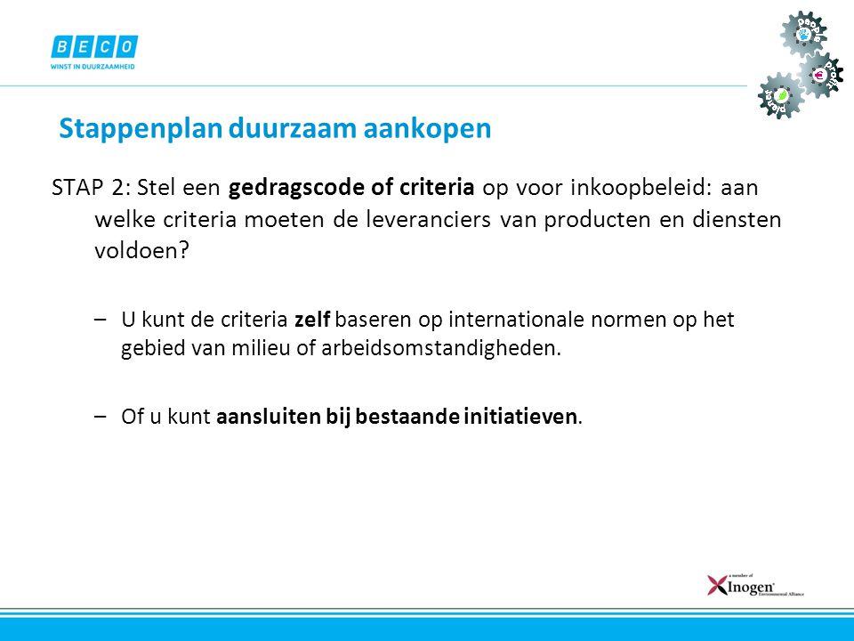 Stappenplan duurzaam aankopen STAP 2: Stel een gedragscode of criteria op voor inkoopbeleid: aan welke criteria moeten de leveranciers van producten e
