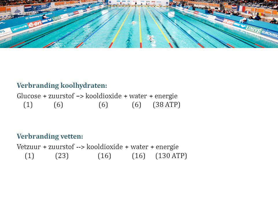 Verbranding koolhydraten: Glucose + zuurstof –> kooldioxide + water + energie (1) (6) (6) (6) (38 ATP) Verbranding vetten: Vetzuur + zuurstof --> kool