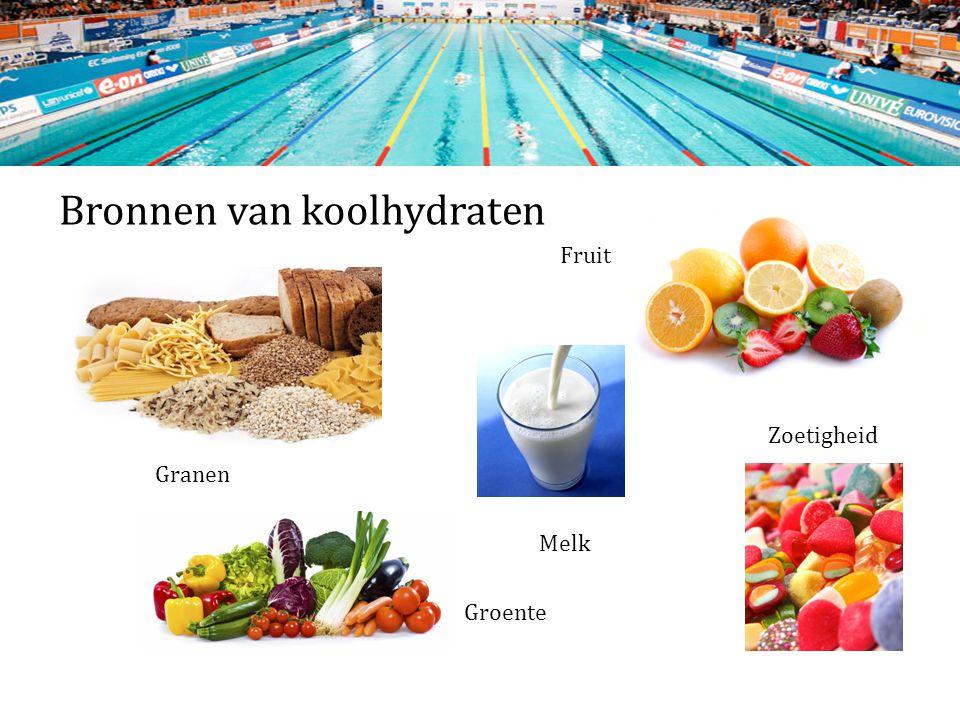 Bronnen van koolhydraten Fruit Zoetigheid Granen Melk Groente