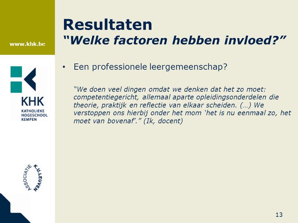 """www.khk.be Resultaten """"Welke factoren hebben invloed?"""" • Een professionele leergemeenschap? """"We doen veel dingen omdat we denken dat het zo moet: comp"""