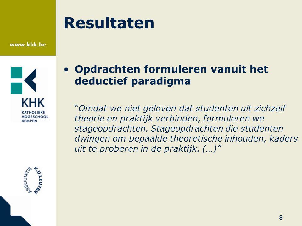 """www.khk.be Resultaten •Opdrachten formuleren vanuit het deductief paradigma """"Omdat we niet geloven dat studenten uit zichzelf theorie en praktijk verb"""