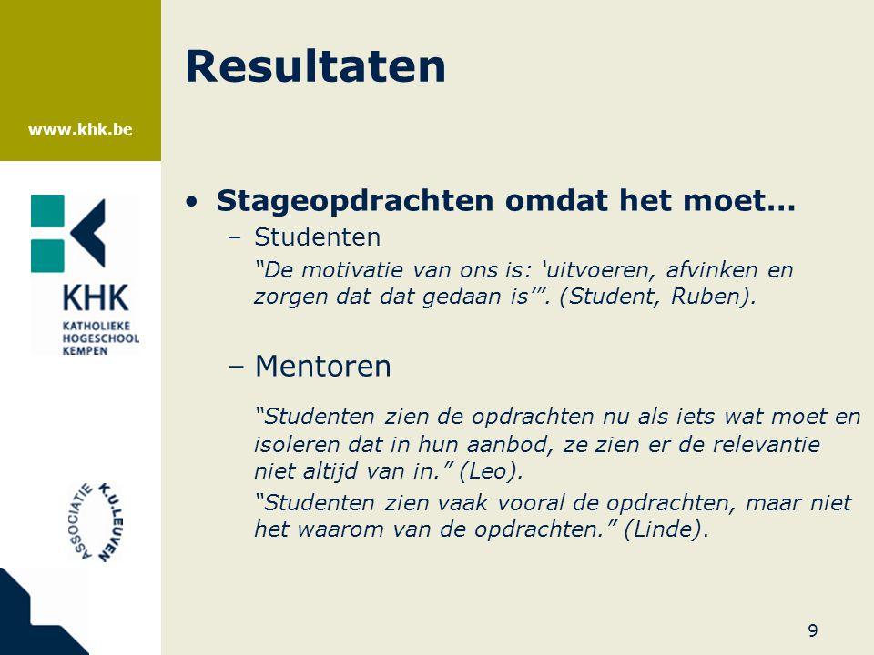 """www.khk.be Resultaten •Stageopdrachten omdat het moet… –Studenten """"De motivatie van ons is: 'uitvoeren, afvinken en zorgen dat dat gedaan is'"""". (Stude"""