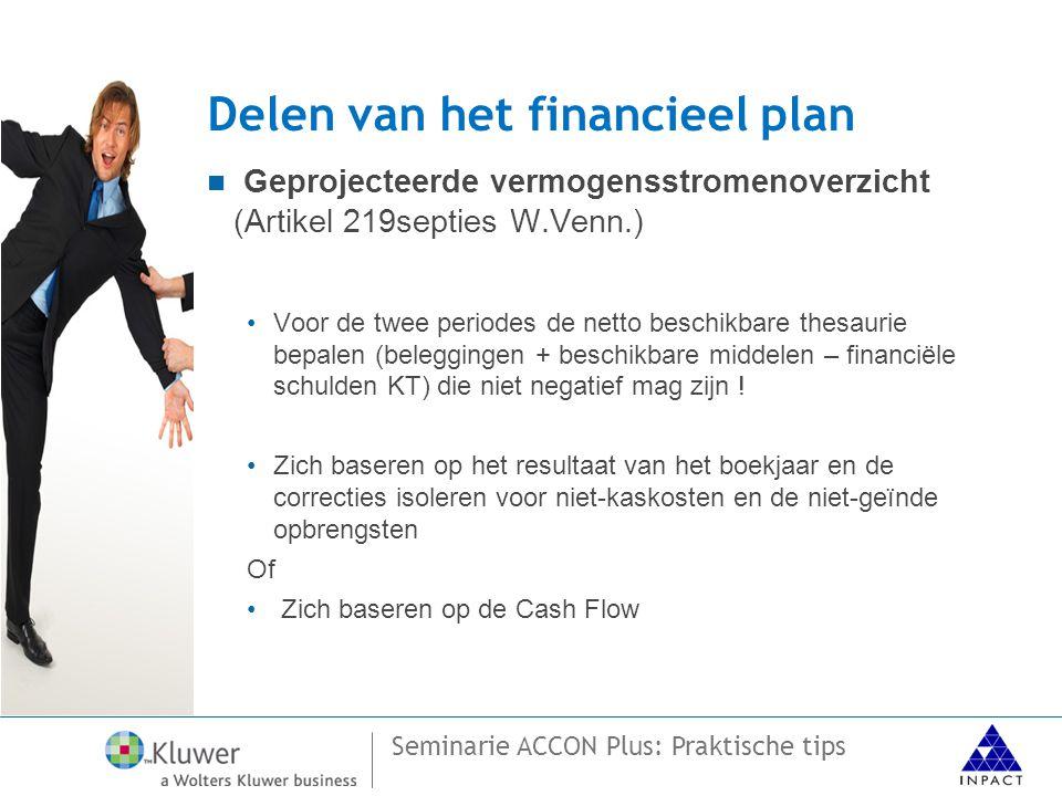 Seminarie ACCON Plus: Praktische tips Delen van het financieel plan  Geprojecteerde vermogensstromenoverzicht (Artikel 219septies W.Venn.) •Voor de twee periodes de netto beschikbare thesaurie bepalen (beleggingen + beschikbare middelen – financiële schulden KT) die niet negatief mag zijn .