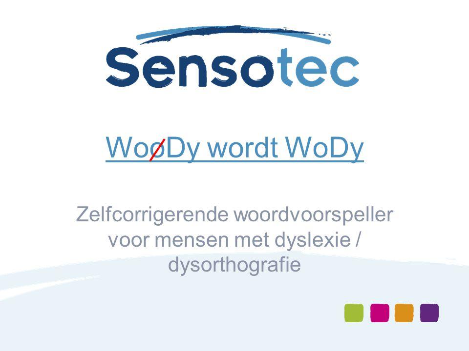 WooDy wordt WoDy Zelfcorrigerende woordvoorspeller voor mensen met dyslexie / dysorthografie
