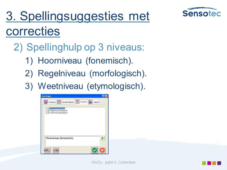 3. Spellingsuggesties met correcties 2)Spellinghulp op 3 niveaus: 1)Hoorniveau (fonemisch). 2)Regelniveau (morfologisch). 3)Weetniveau (etymologisch).