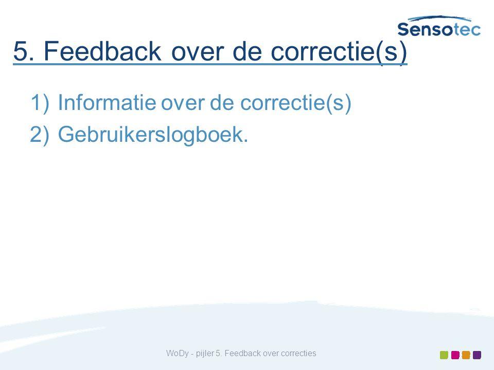 5. Feedback over de correctie(s) 1)Informatie over de correctie(s) 2)Gebruikerslogboek. WoDy - pijler 5. Feedback over correcties