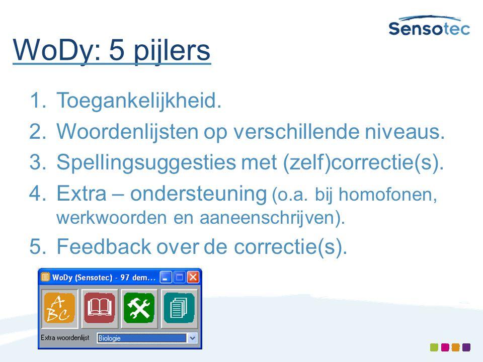 WoDy: 5 pijlers 1.Toegankelijkheid. 2.Woordenlijsten op verschillende niveaus. 3.Spellingsuggesties met (zelf)correctie(s). 4.Extra – ondersteuning (o